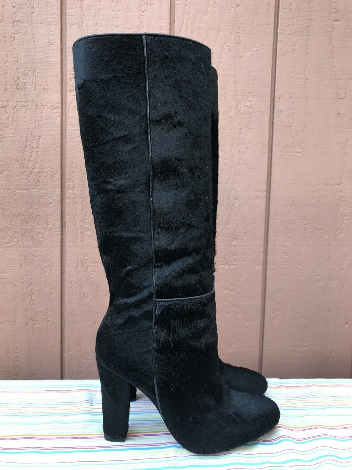RARE EUC Alexandre Birman Women's US 6.5 Black Pony Hair Boots $1400