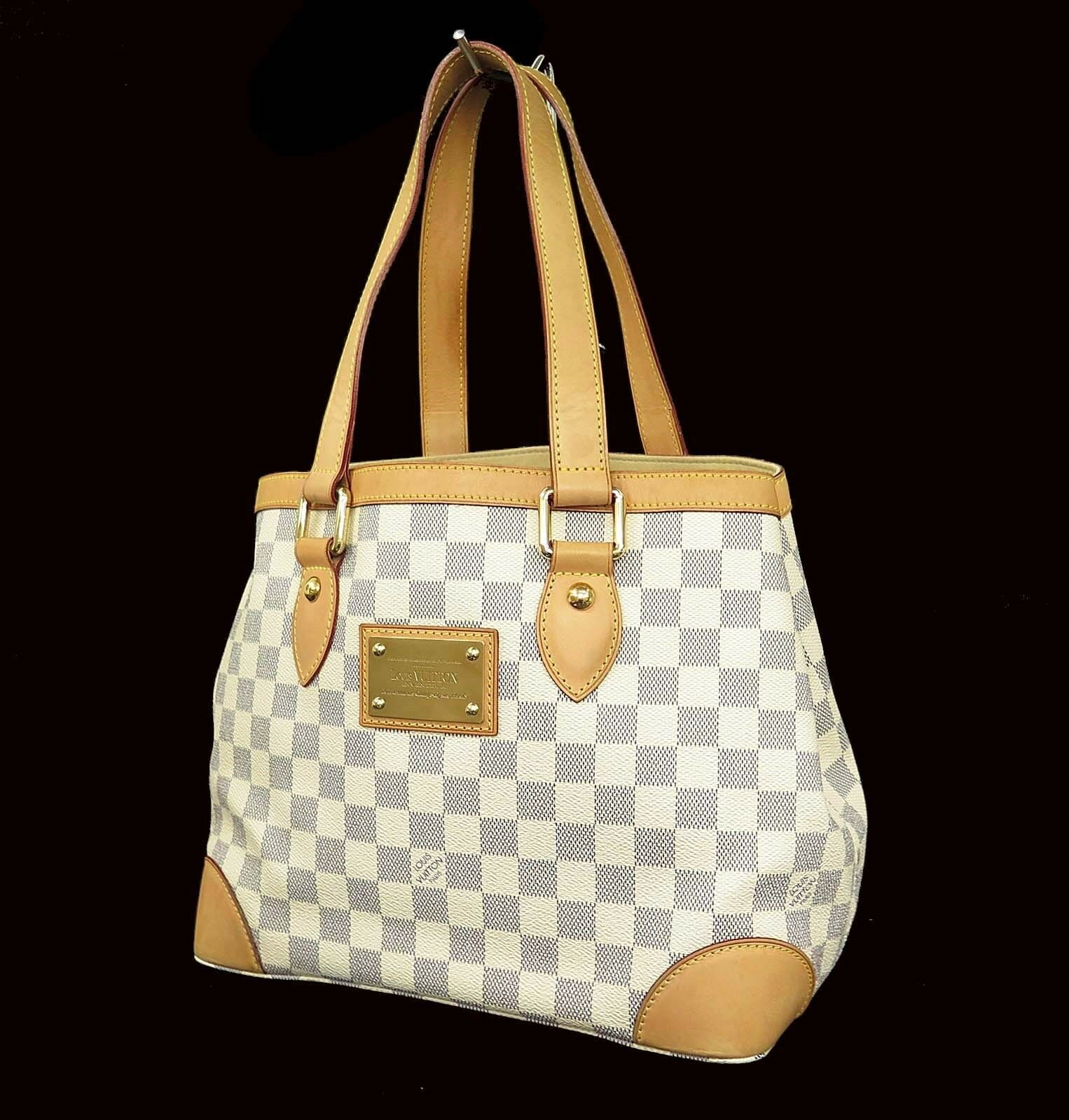 Authentic LOUIS VUITTON Hampstead PM Damier Azur Tote Shoulder Bag Purse #73231