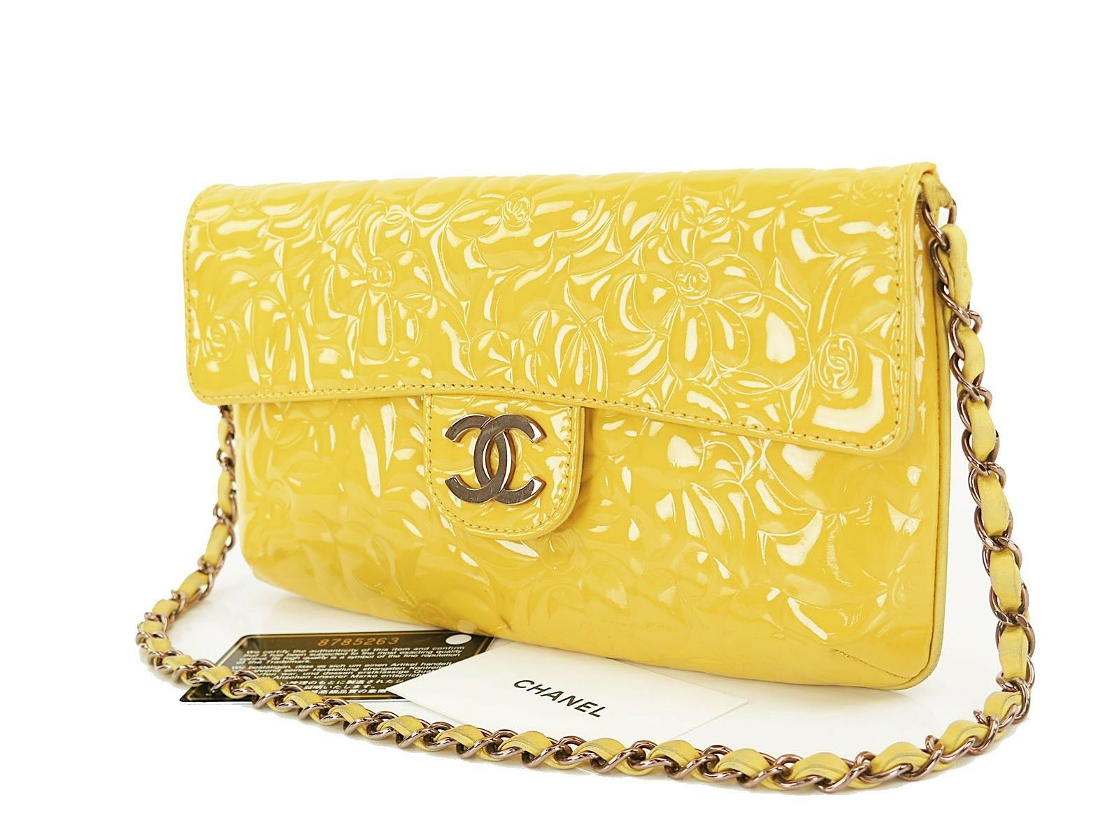 Auth CHANEL Yellow Camellia Patent Leather Chain Shoulder Bag Purse #25296