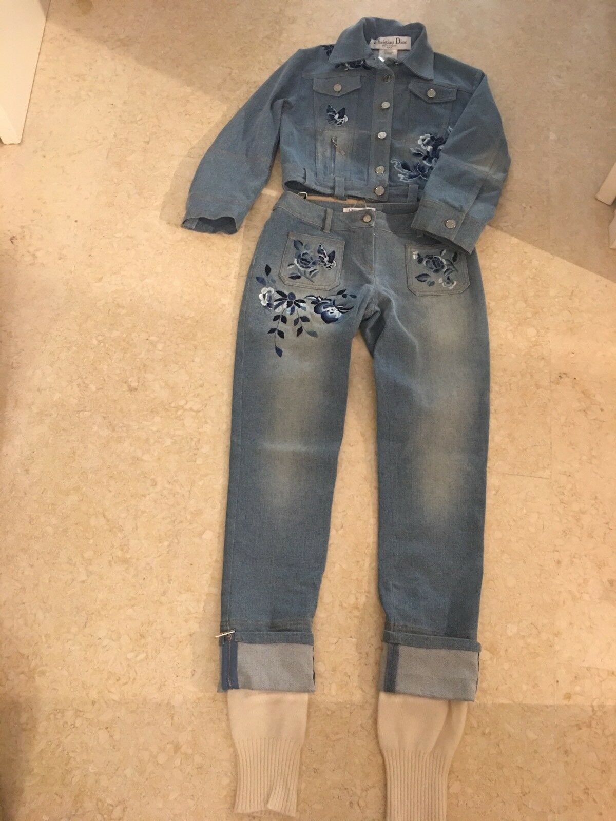 CHRISTIAN DIOR BOUTIQUE Denim Blue Embroidered 2 Piece Jacket Trousers  UK 10