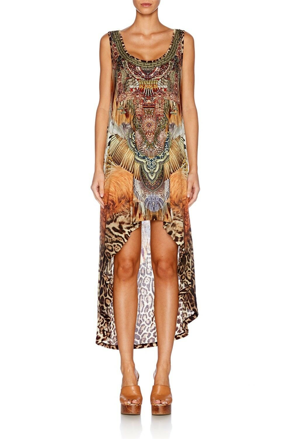 new CAMILLA FRANKS CRYSTALS EL SALVAJE TANK DRESS TOP KAFTAN sz 1