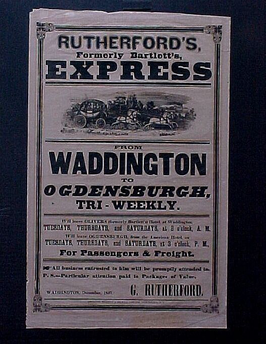 1851 Original Stagecoach NY State Express Co Poster Ogdensburgh Railroad Related