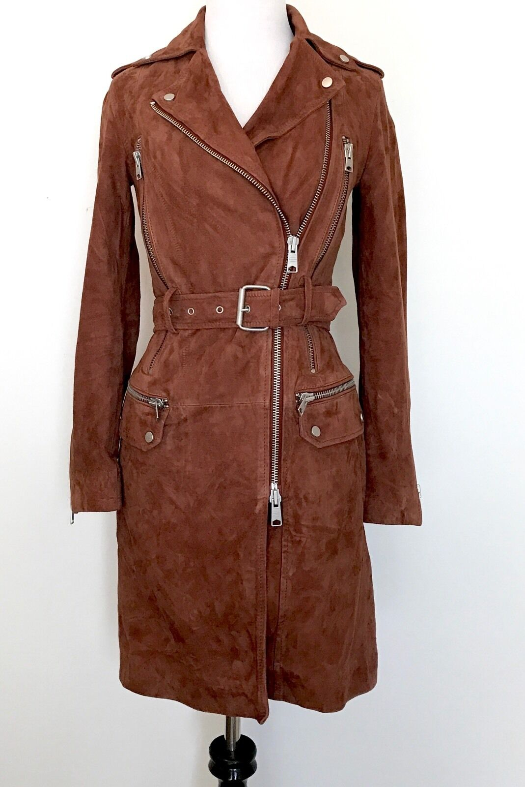 AllSaints Chiltern Brick Brown Leather Coat. NWT Retail $830 Price $455 Size 00