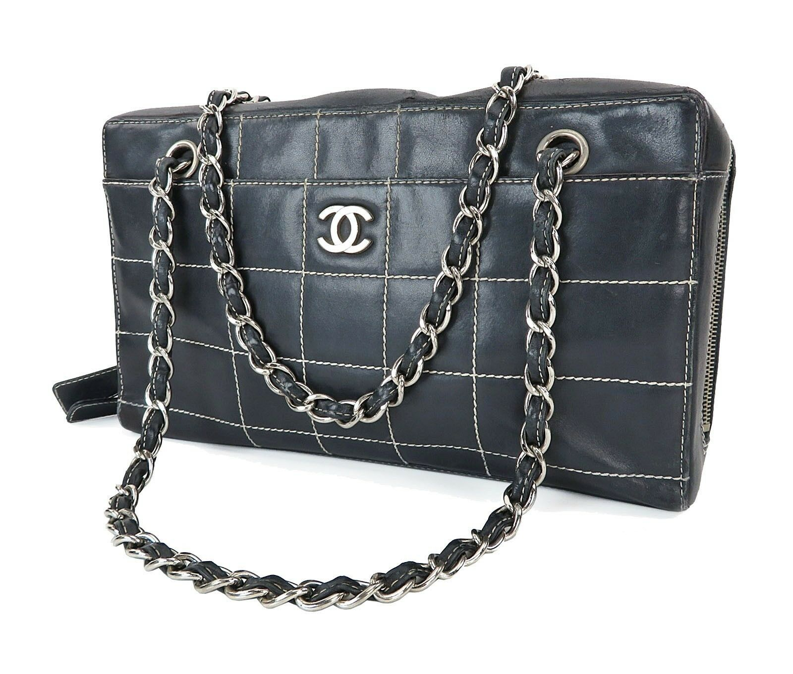 Authentic CHANEL Blue Chocolate Bar Leather Chain Shoulder Bag Purse #26366