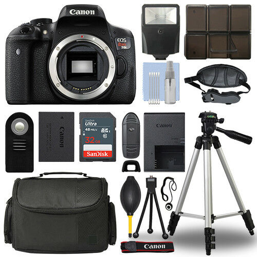Canon EOS Rebel T6i 24.2 MP Digital SLR Camera Body + 32GB Top Accessory Bundle