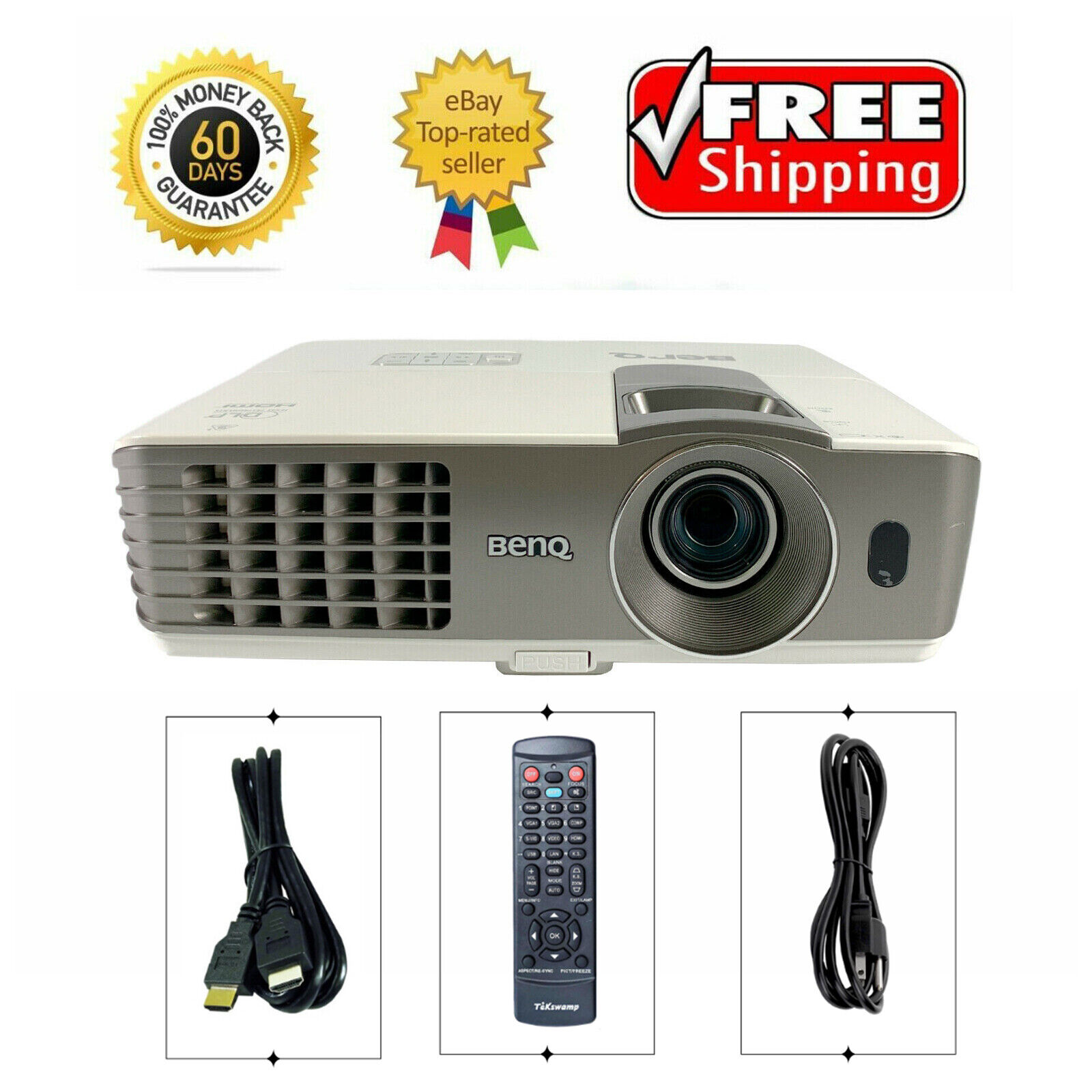 BenQ MX720 DLP Projector Refurbished 3500 ANSI HD 1080i/p HDMI Remote TeKswamp