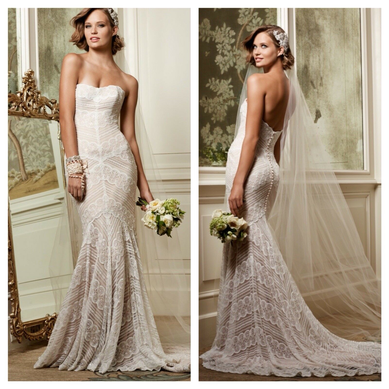 Watters Wtoo Pippin Strapless Lace Wedding Dress -Size 00