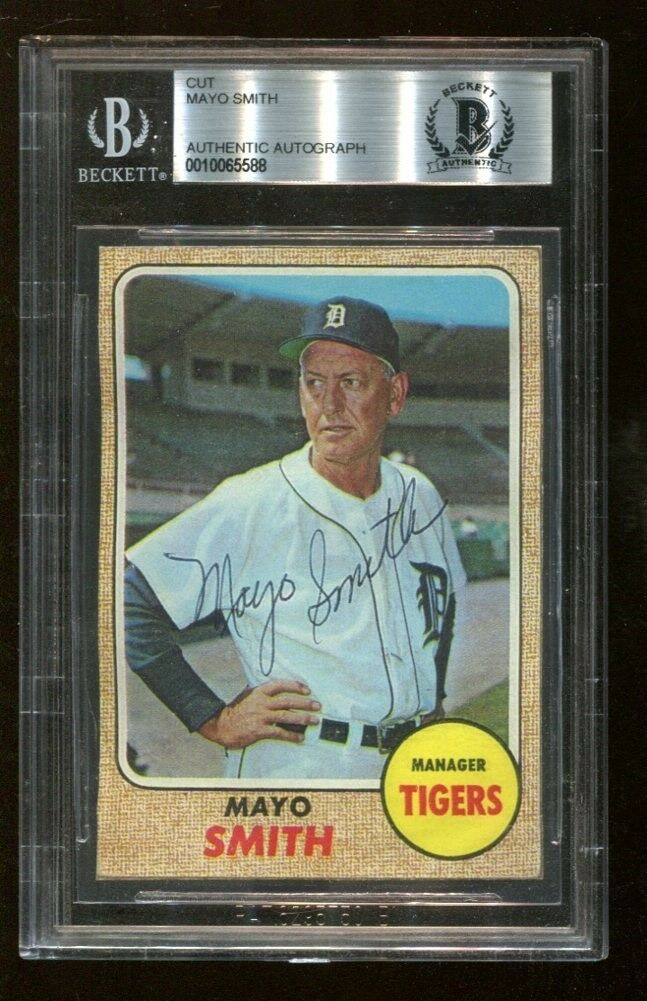 Mayo Smith Signed 1968 Topps Cut Reprint D:1977 Autographed Detroit Beckett