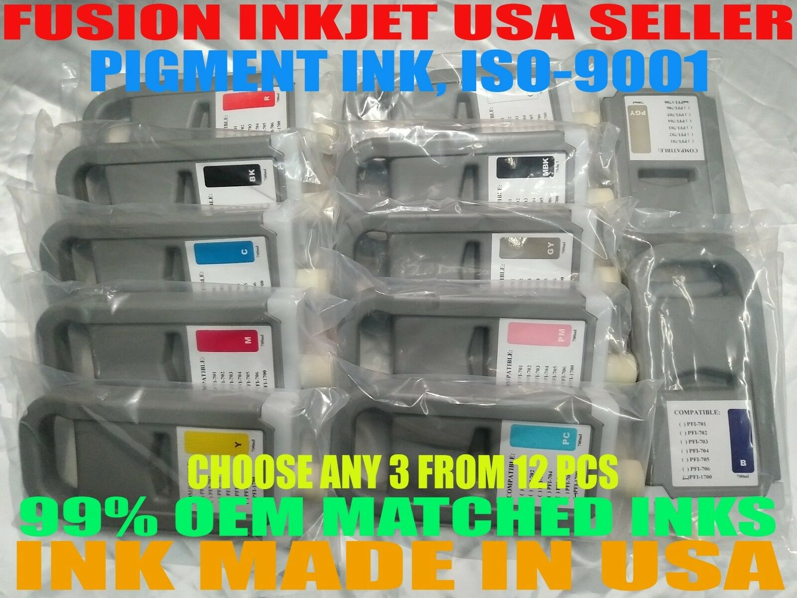 Any 3 Compatible Cartridges canon PFI-1700 ipf imagePROGRAF PRO-2000 4000 6000 z