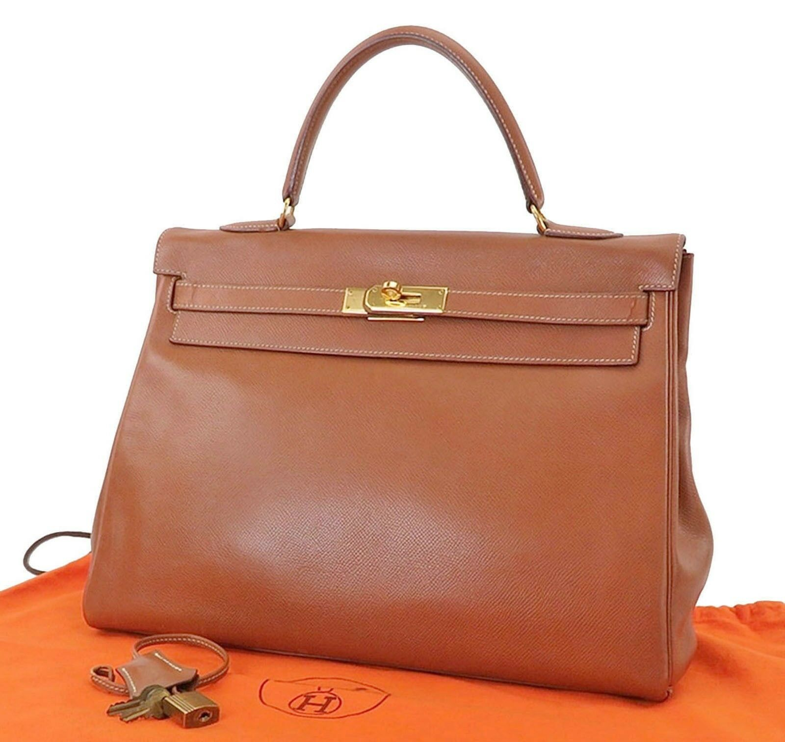 Authentic HERMES Kelly 35 Brown Calfskin Leather Hand Bag Purse #25262