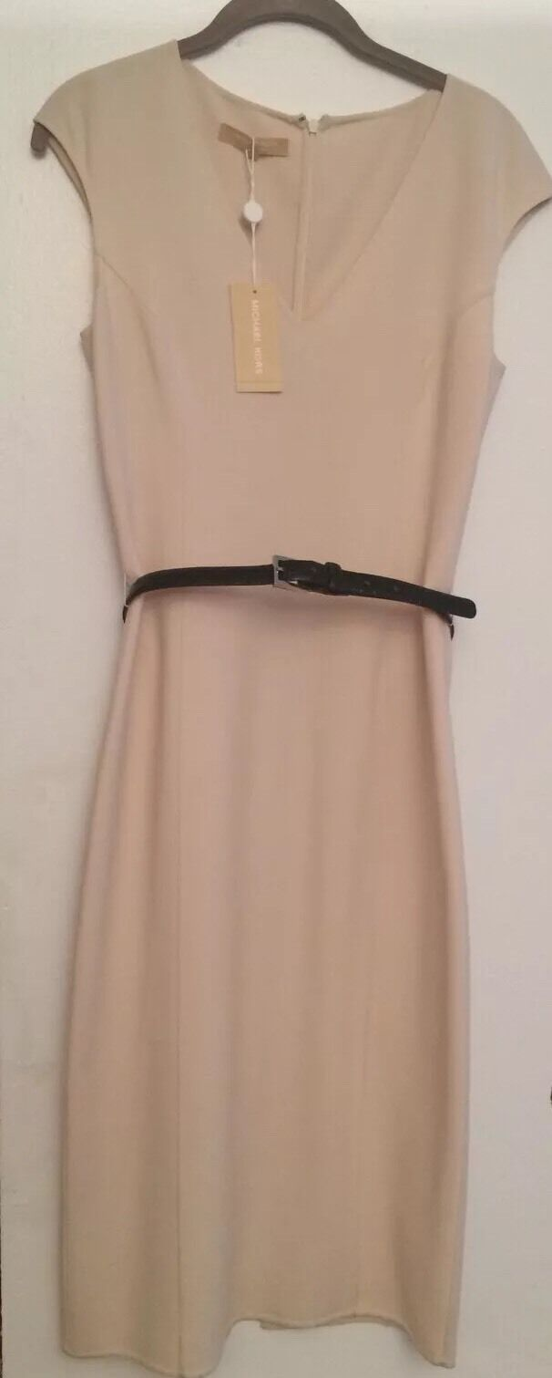 NWT Michael Kors Ivory Knee-Length Sleeveless Dress Black Leather Belt Sz 4 $2k