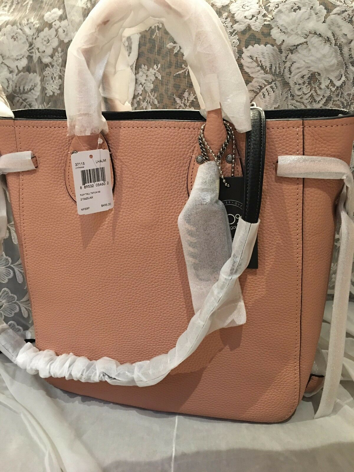 NWT Coach Play Tall Tatum 30 Tote Handbag Adobe Peach Pink Pebbled Leather 37115