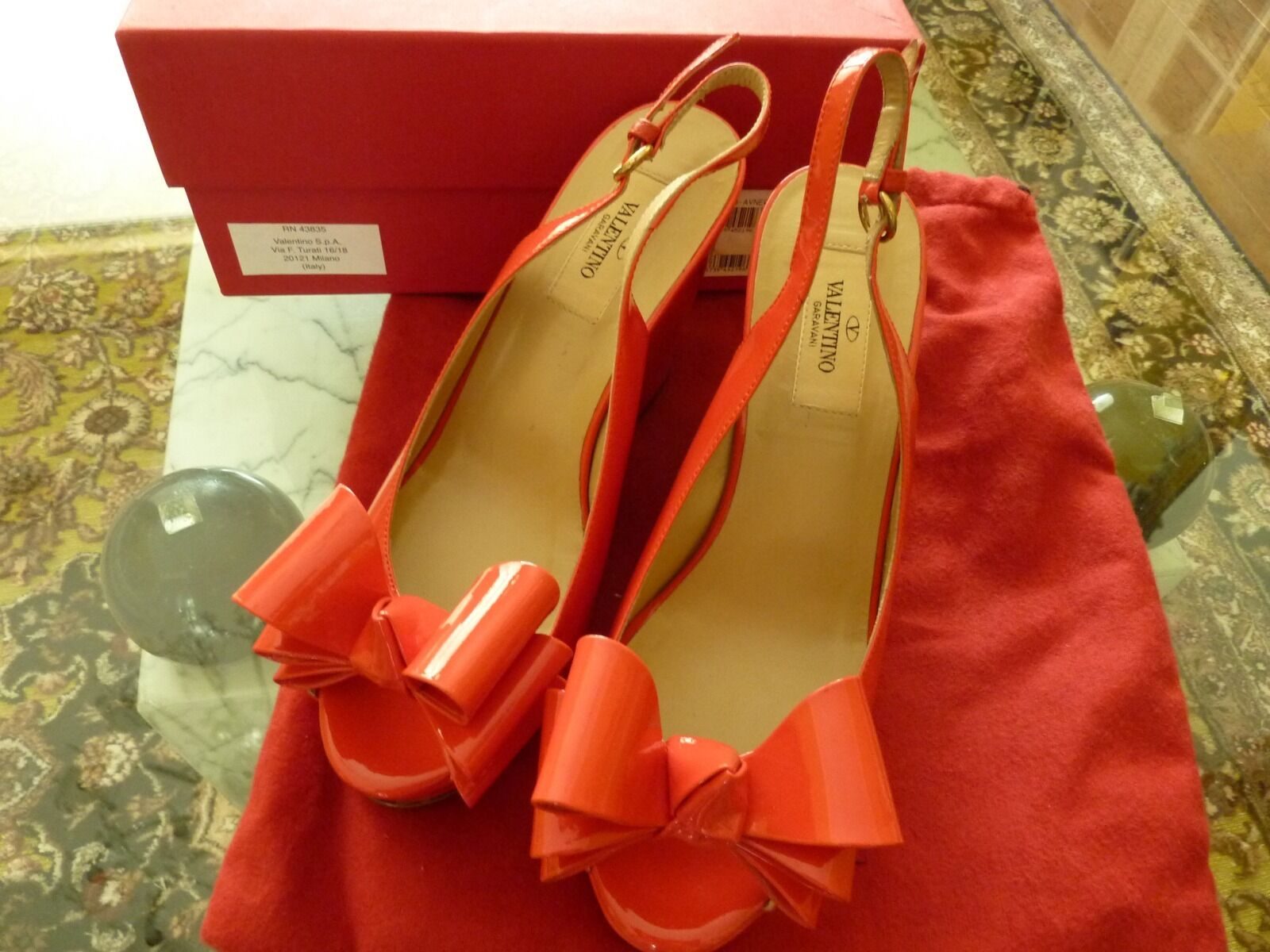 VALENTINO Garavani $795 Wedges Shoes Sz. 37 7B Red Bow Patent Leather NEW Box