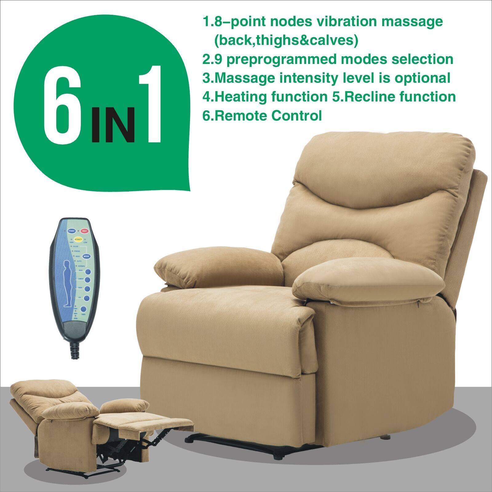 Brown Ergonomic Massage Recliner Lounge Microfiber Heated Sofa Chair w/Control