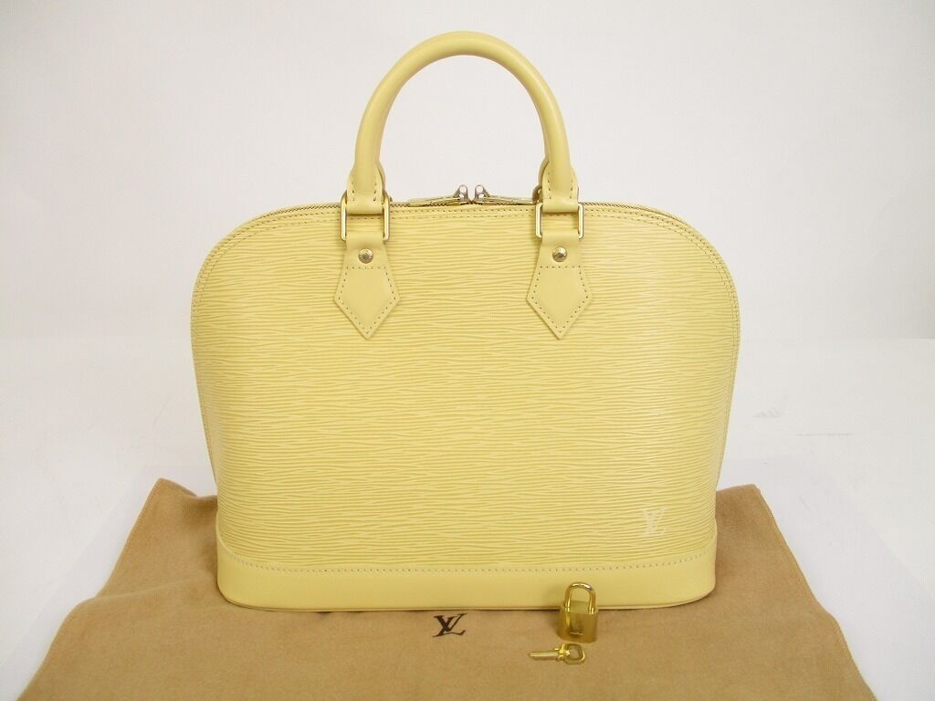 Authentic LOUIS VUITTON Epi Leather Vanilla Hand Bag Purse Alma #6044