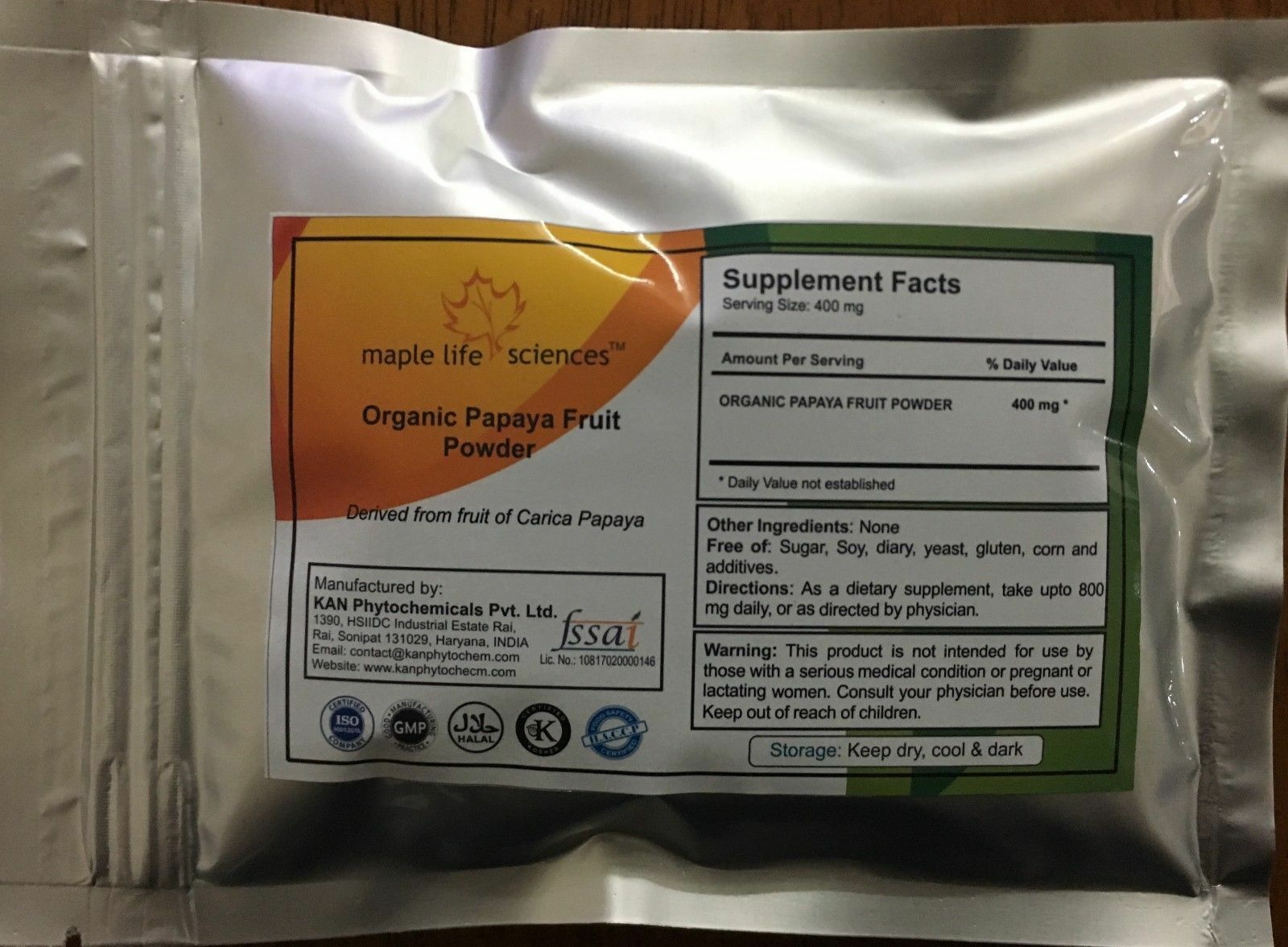ORGANIC Papaya Fruit Powder, Pure, Digestion, Weight Loss, skin care, Immunity