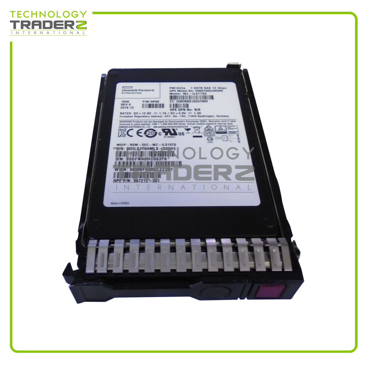 870144-B21 HP 7.68TB SAS 12G 2.5-inch Solid State Drive 867212-001