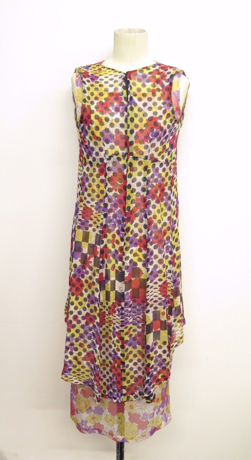 Comme Des Garçons Early 2000's Silk Layered Floral Sheath Dress Sz S