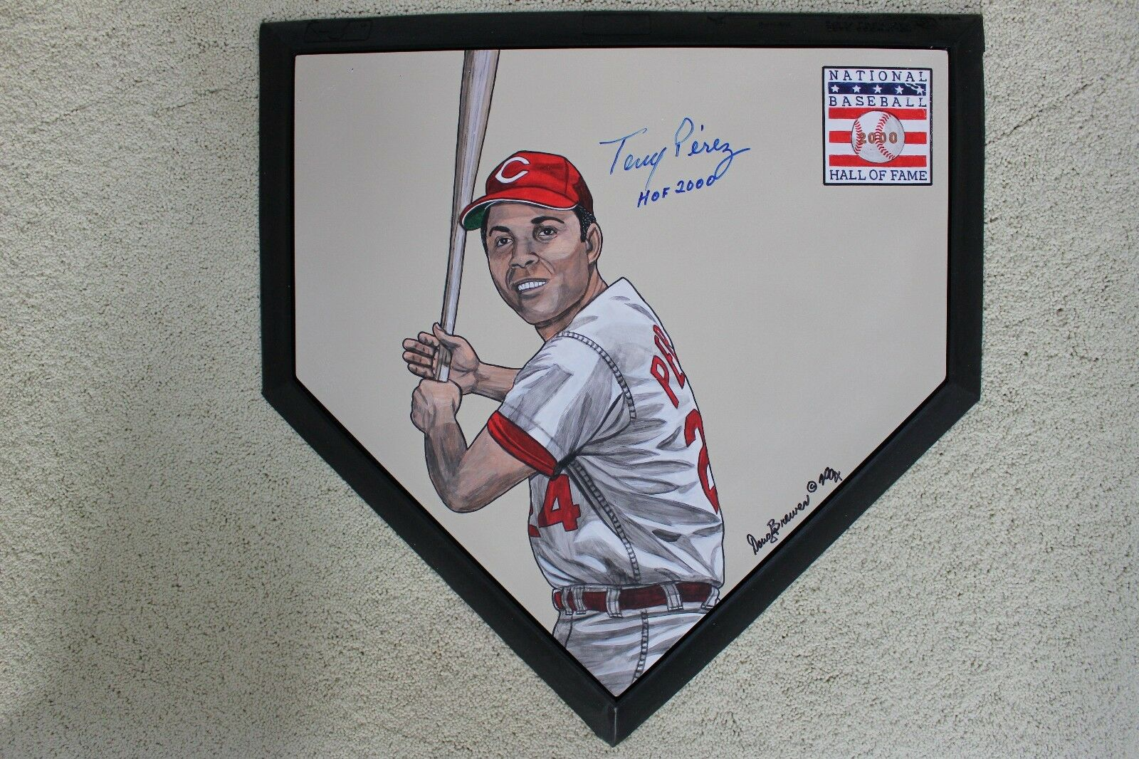 Tony Perez HOF Cincinnati Reds Hand Painted Signed MLB Schutt Home plate