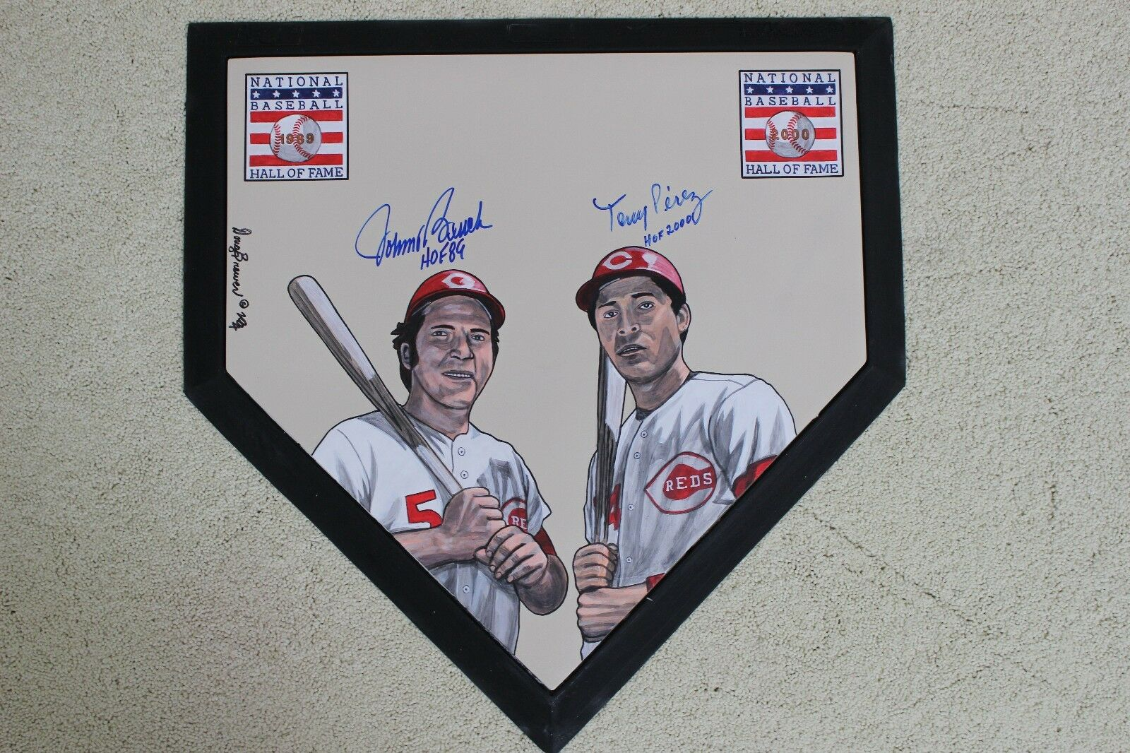 Johnny Bench Tony Perez HOFers Cincinnati Reds HandPainted MLB Schutt Homeplate