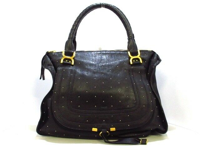Auth Chloe Marcie Black Leather Handbag