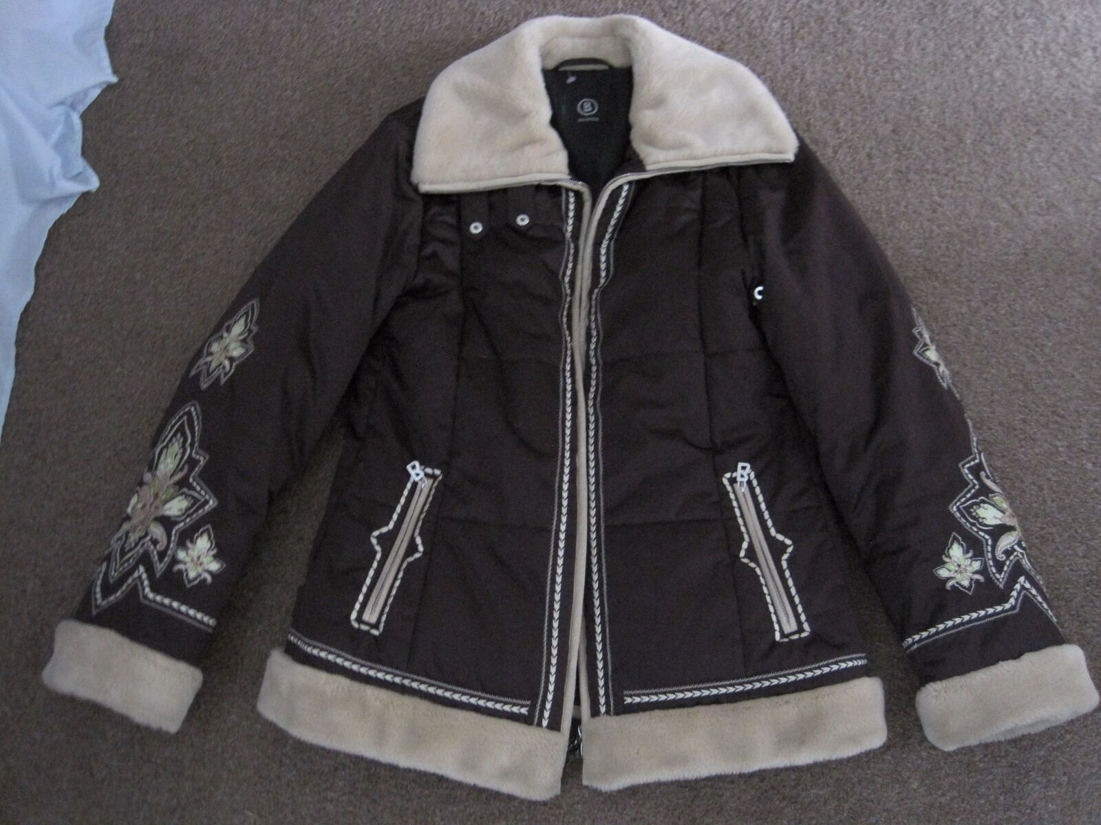 LADIES BOGNER BROWN SKI SNOW WINTER JACKET with FUR UK 10-12 CHEST 40-42 $725.00