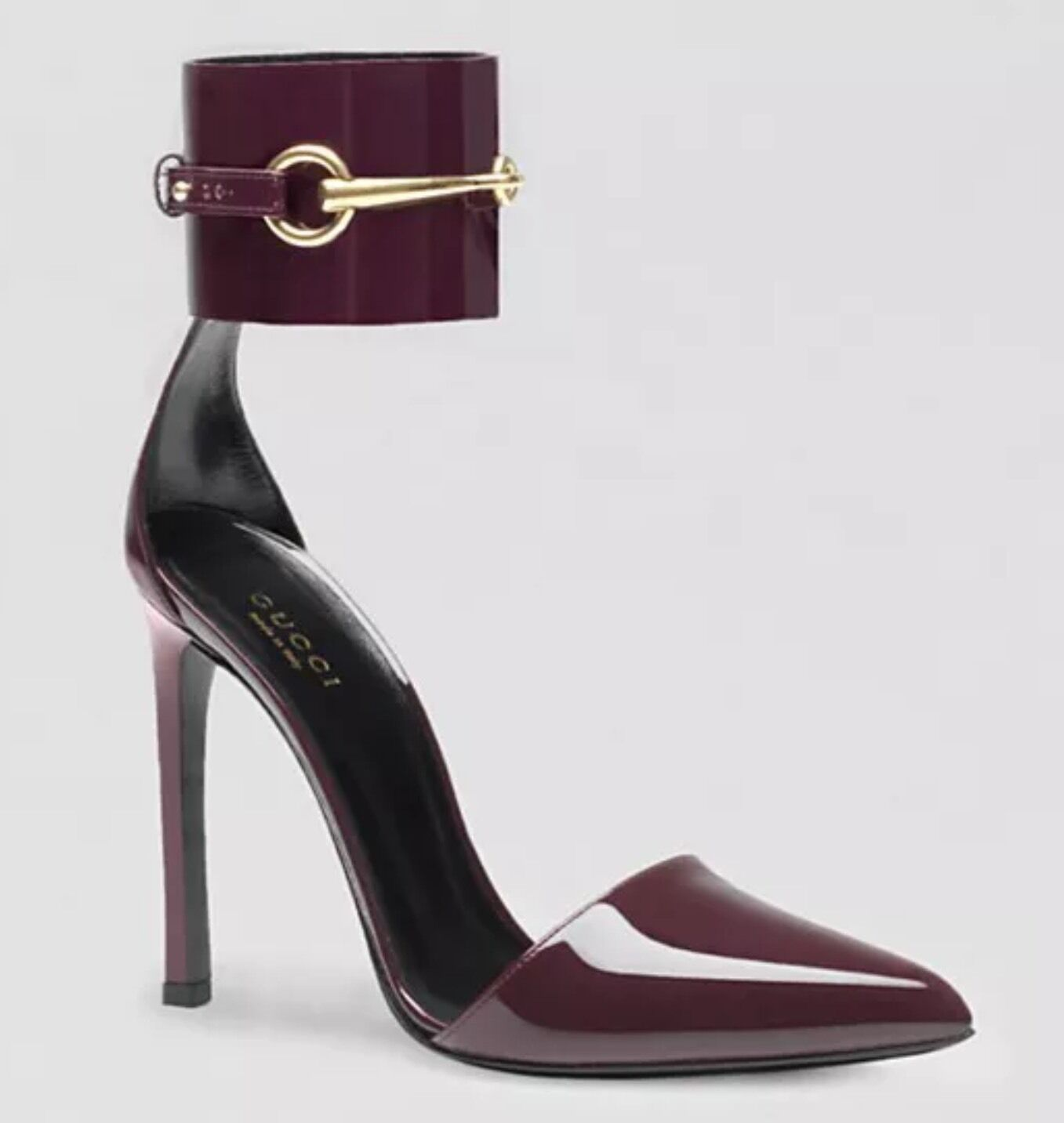 GUCCI SHOES URSULA BURGUNDY ANKLE STRAP LEATHER HORSEBIT CLOSED TOE 37.5