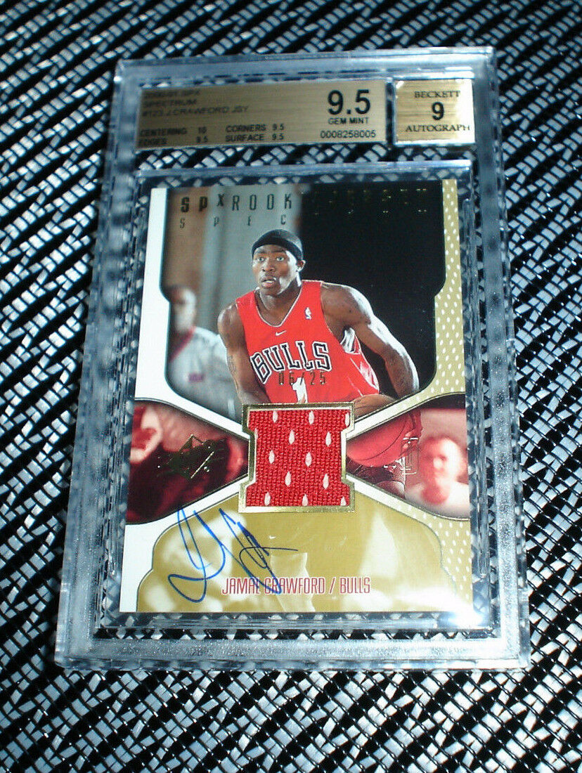 00-01 UD SPX Jamal Crawford Autograph RC Rookie BGS 9.5 Jersey Auto Spectrum /25