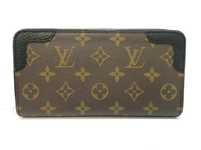 Auth LOUIS VUITTON Zippy Wallet Retiro M61188 Noir Monogram anvas
