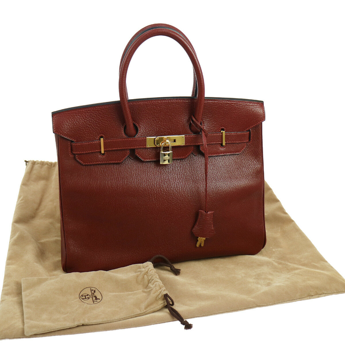Authentic HERMES BIRKIN 35 Hand Bag Burgundy Chevre Myzore Vintage GHW RK13198