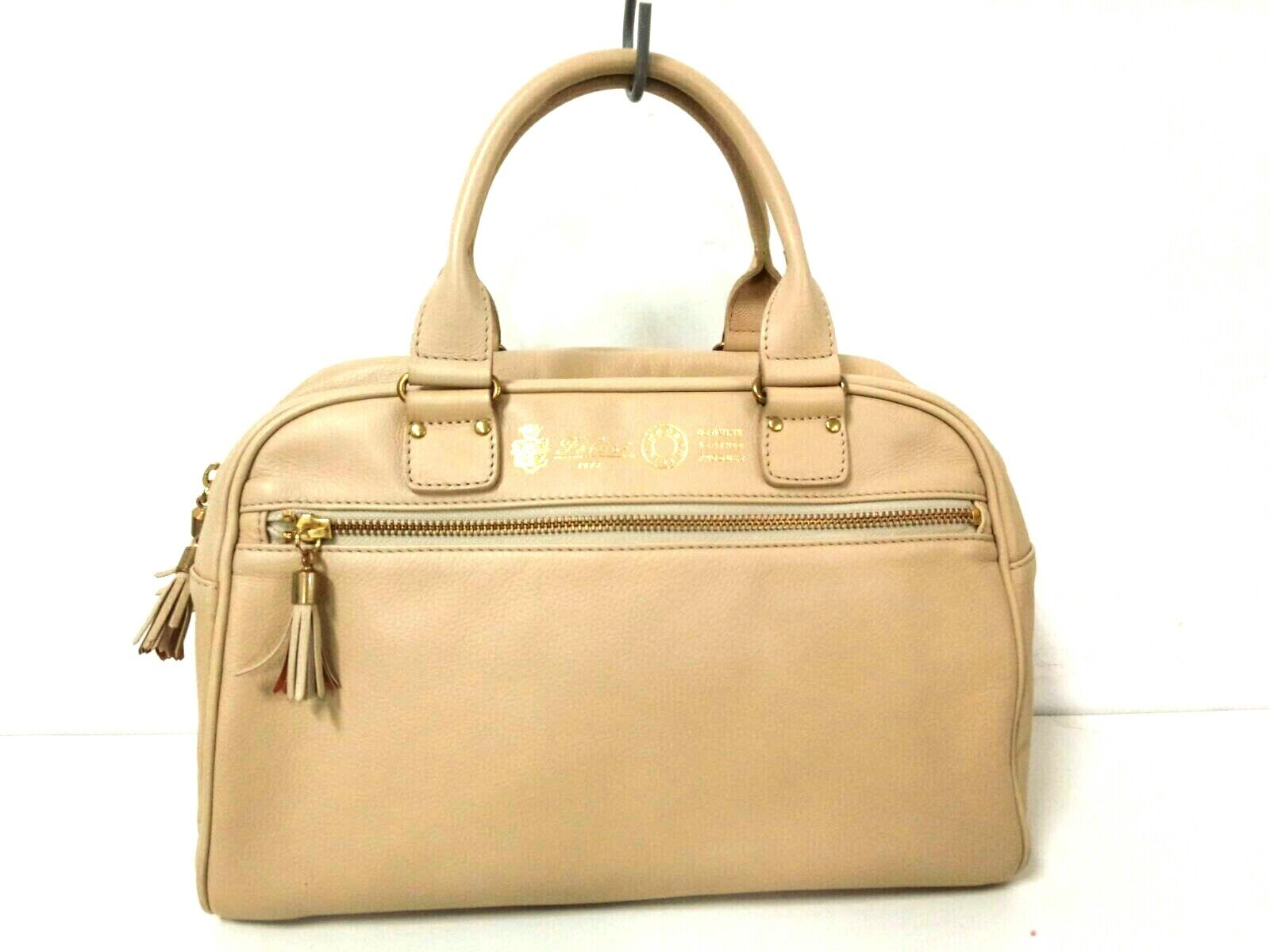 Auth Felisi 14-19 Beige Leather Handbag
