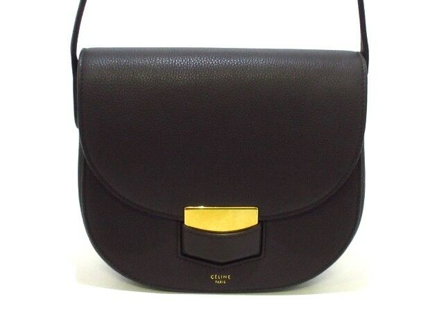 Auth CELINE Trotter Small DarkGray Leather Shoulder Bag