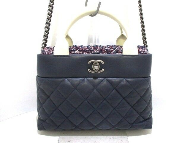 Auth CHANEL A93270 Navy Ivory Red Lambskin Tweed Shoulder Bag