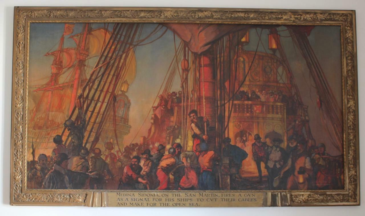 KENNETH D SHOESMITH MONUMENTAL DRAKES DEFEAT OF SPANISH ARMADA MURAL OIL CANVAS