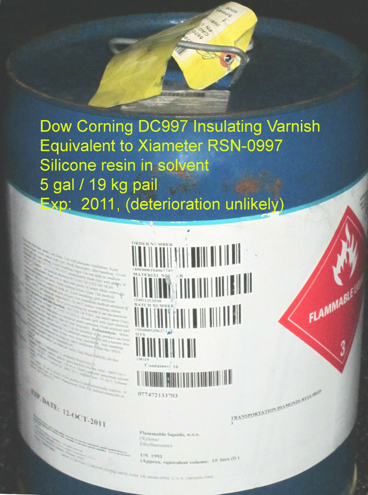 Electrical Insulating Varnish - Dow Corning DC997 / Xiameter RSN-0997, 25x 5 gal