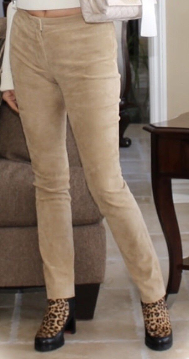 Escada Genuine Suede Canel Color Pants Size 36 MSRP +2000$