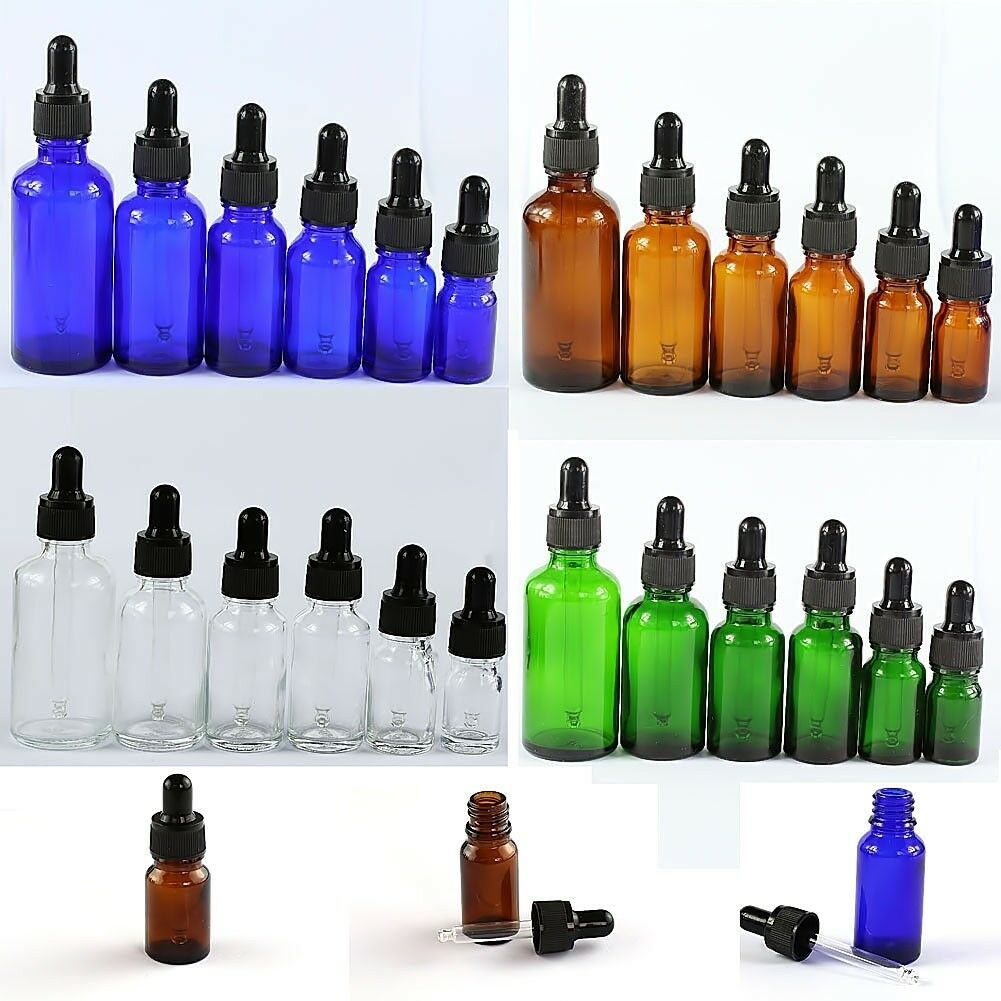 5ML--100ML Glass Reagent Eye Dropper Drop Aromatherapy Liquid Bottle 5-50Pcs