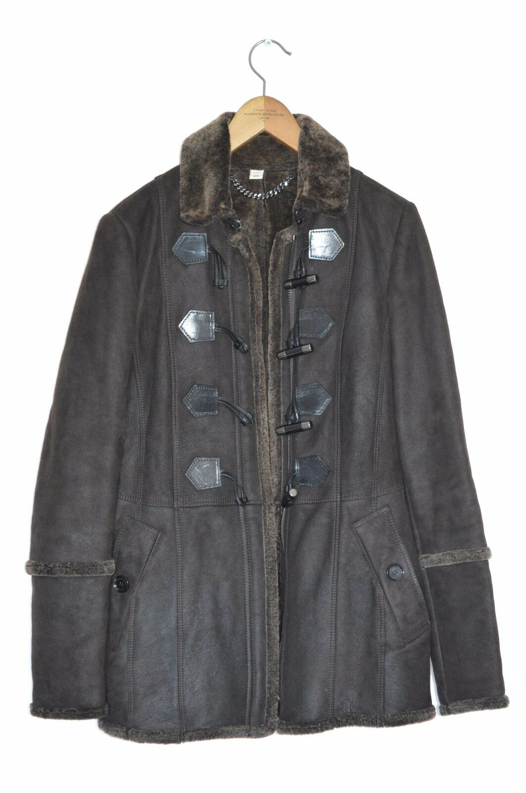 *STUNNING* Burberry Ladies Shearling sheepskin Duffle Coat Leather UK8 US6 EU36