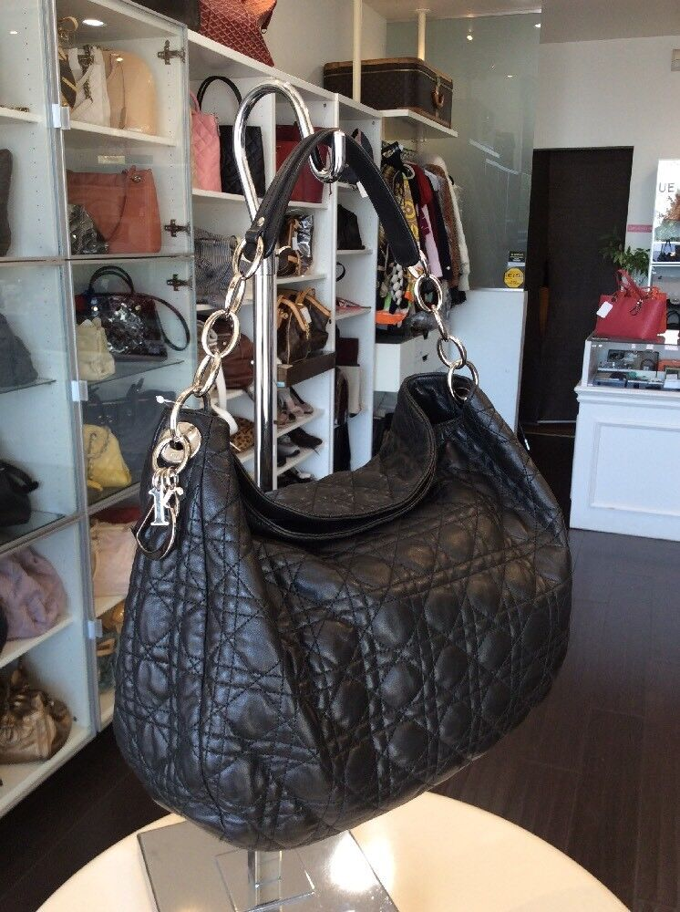 Christian Dior Leather Lady Dior Style Tote Handbag Pick Up@LA