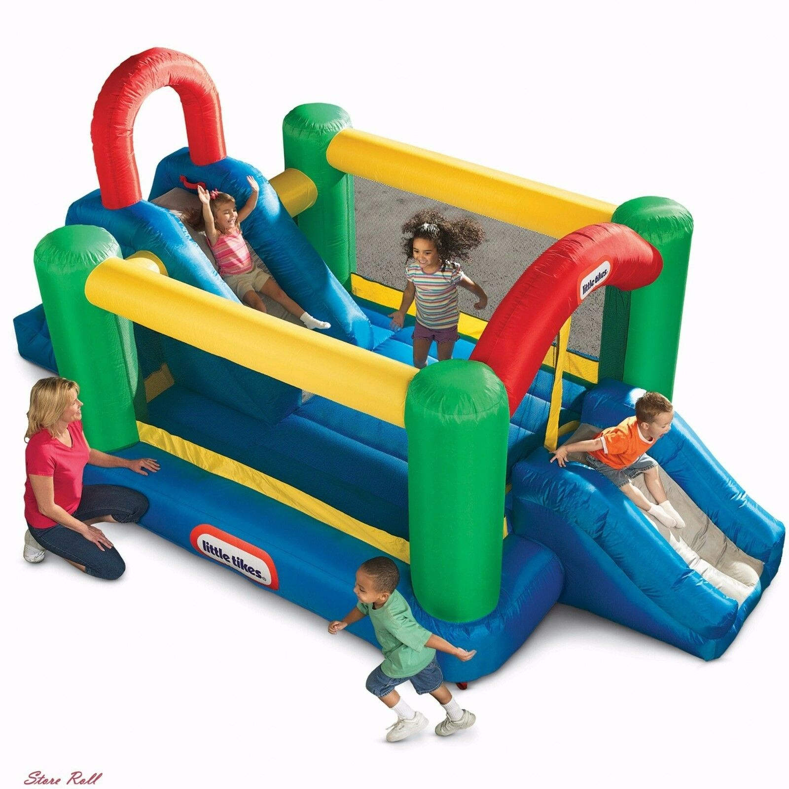 Inflatable Bouncers For Kids House Outdoor Jump And Double Slide Mesh Door New