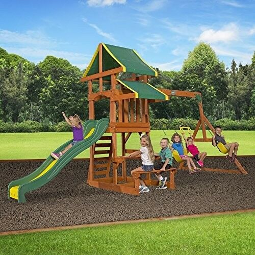 Backyard Swing Set Wood Cedar Outdoor Kids Playground Slide Playset Children Box