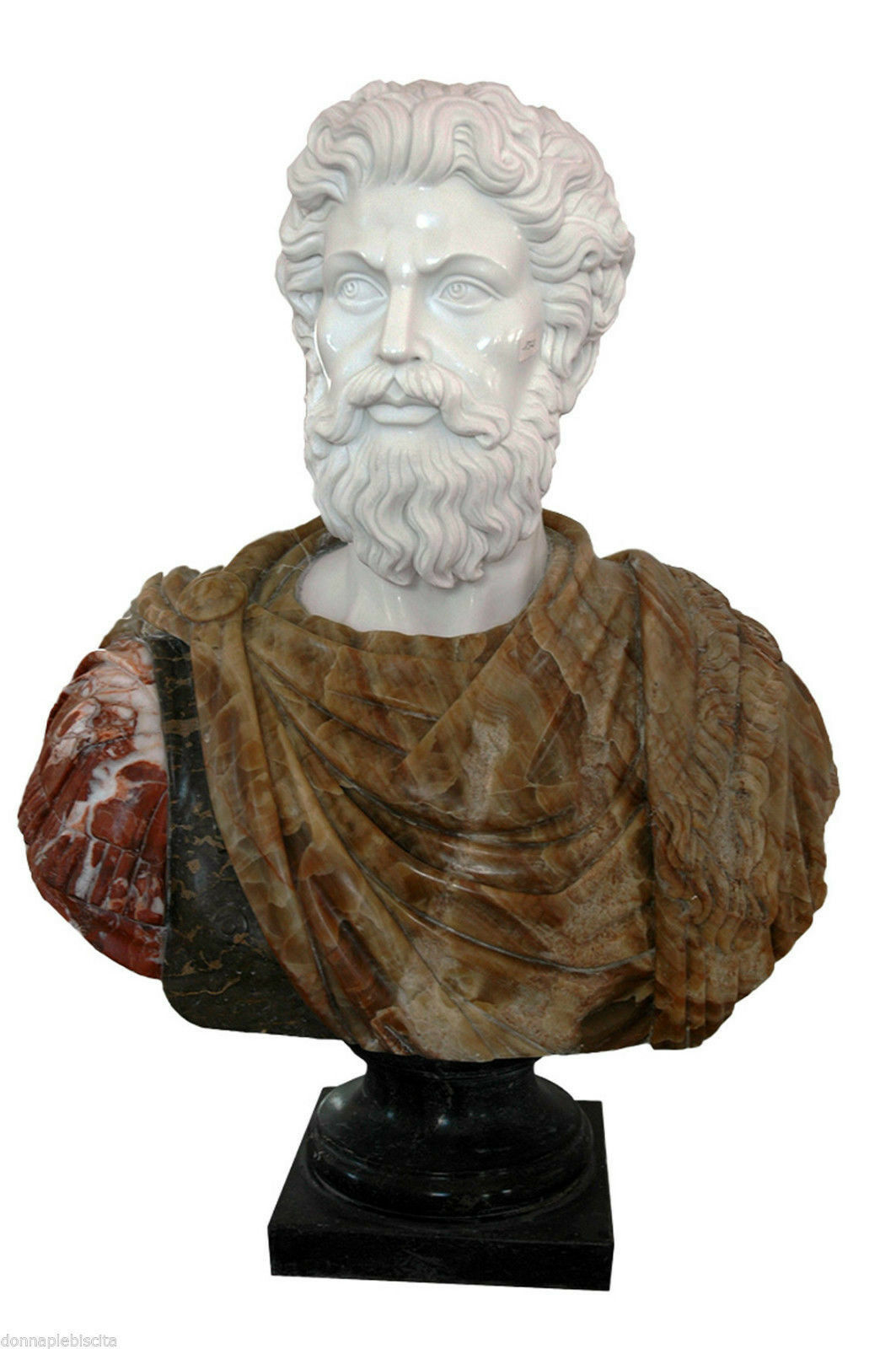 Large Bust Emperor white marble and Onyx Classic Home Design Sculpture