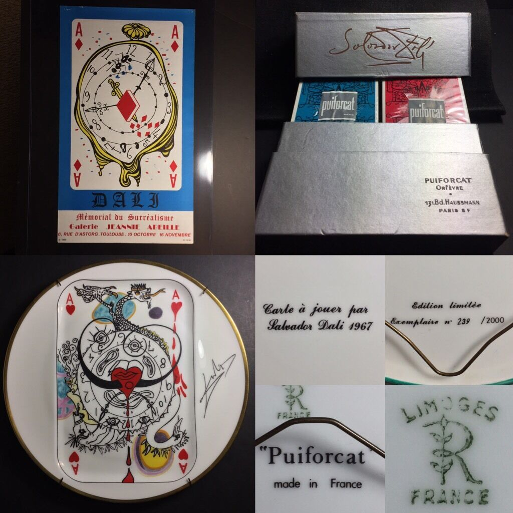 1967 DALI Surrealism Art Exhibition Litho Poster Playing Cards • Limoges Plates