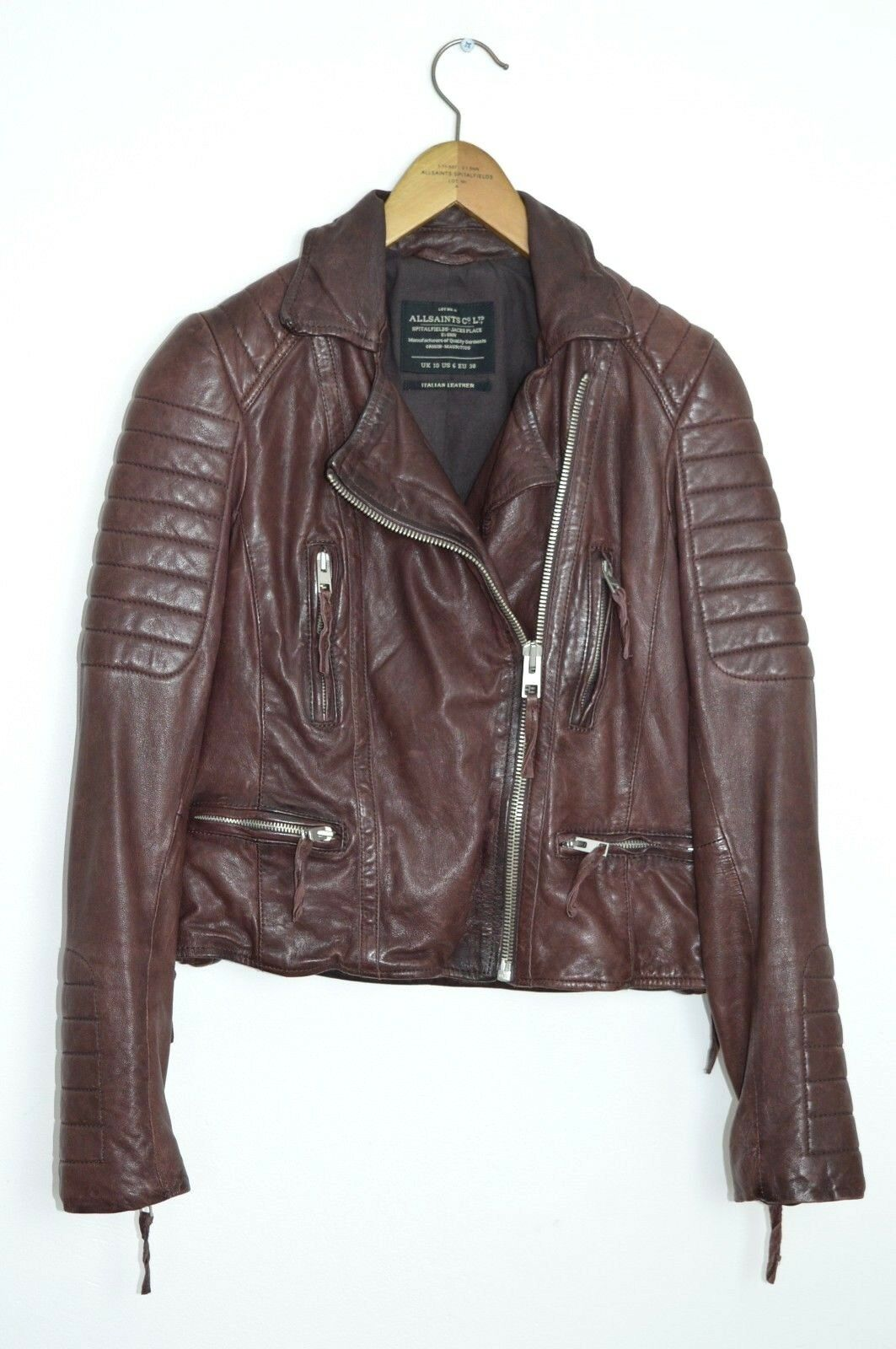 *STUNNING* AllSaints Ladies OXBLOOD Leather Biker Jacket UK10 US6 steine moto B