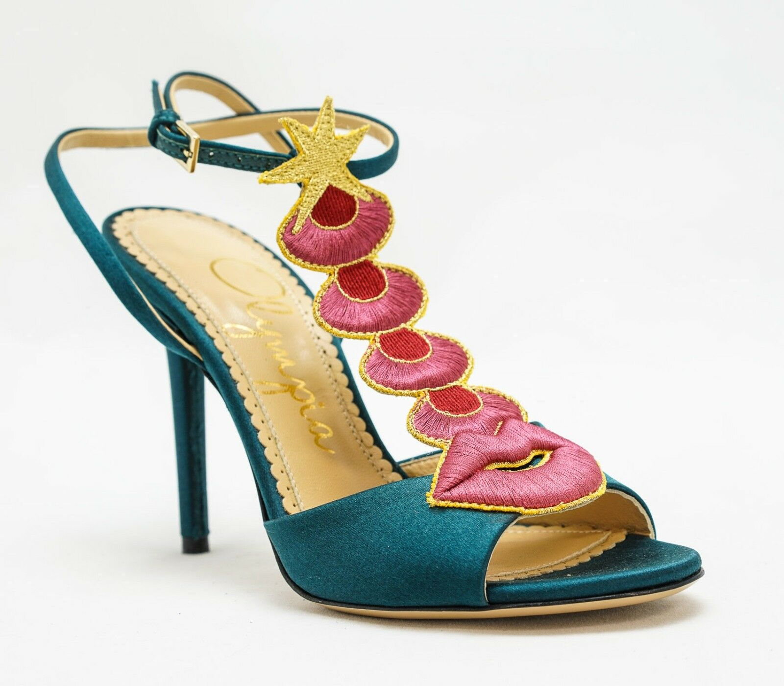 Charlotte Olympia Sci Fi Sandals in Night Sky Blue Satin - New in Box