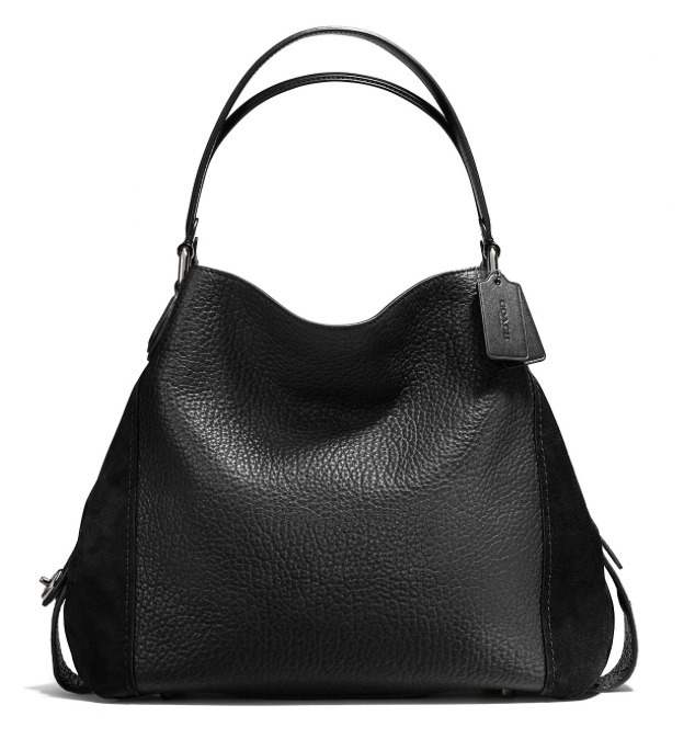 COACH Edie Shoulder Bag 42 in Mixed Leather Black ORIGINAL PACKAGING