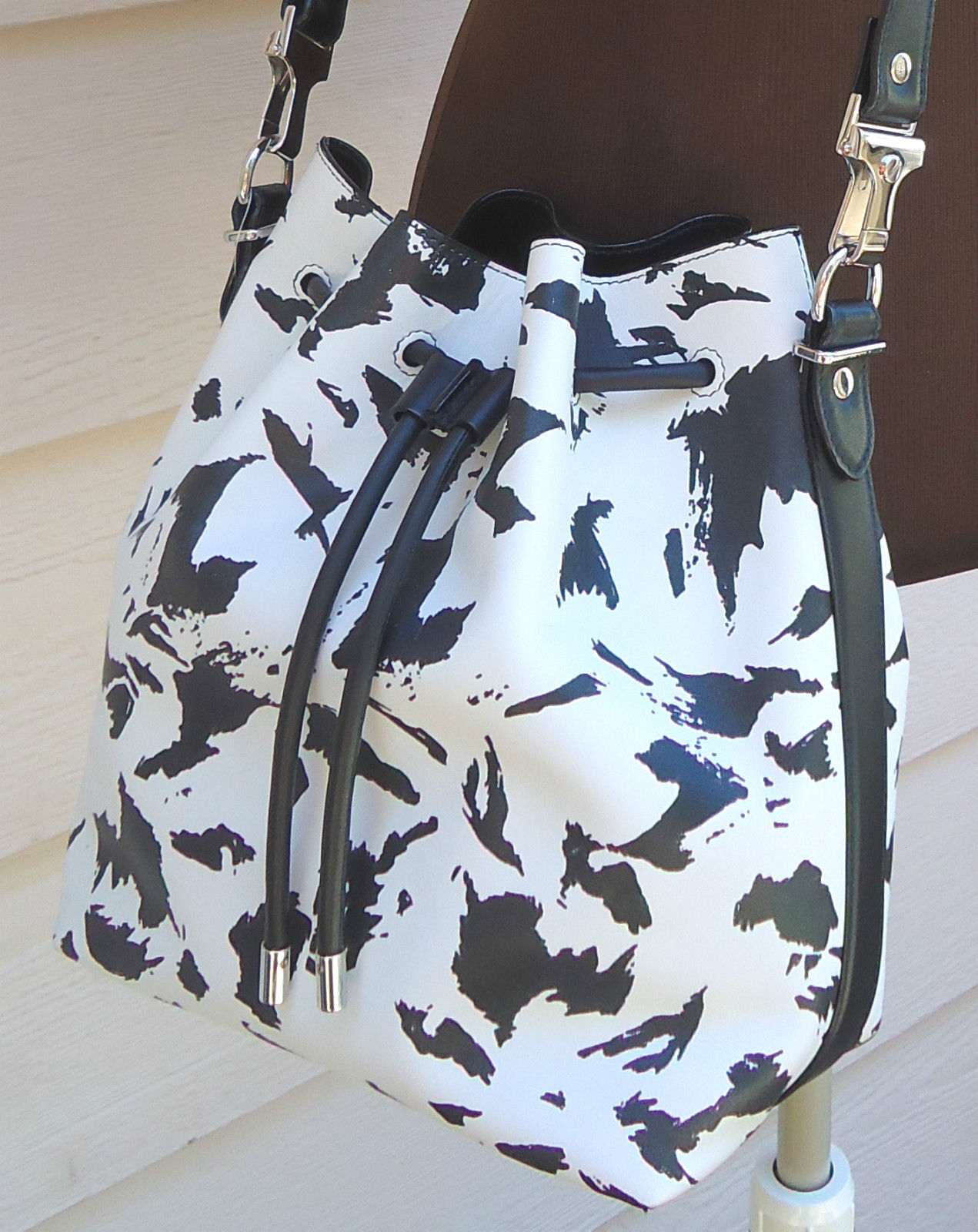 NEW $1425  Proenza Schouler Medium Feather Print Bucket Bag Black White Leather