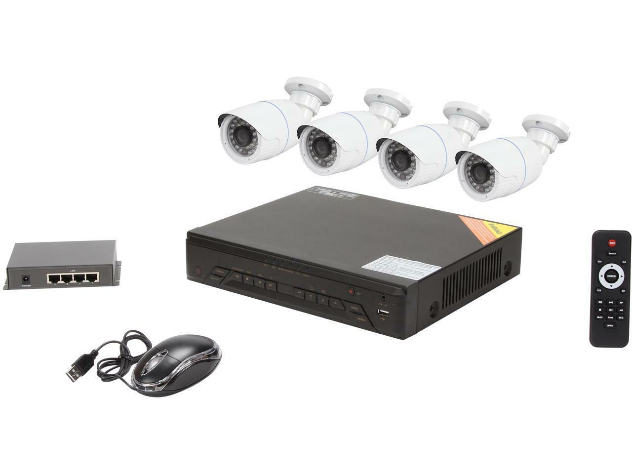 LaView LV-KNT0404B1 Professional 4 Channel HD IP Security System Bullet Camera