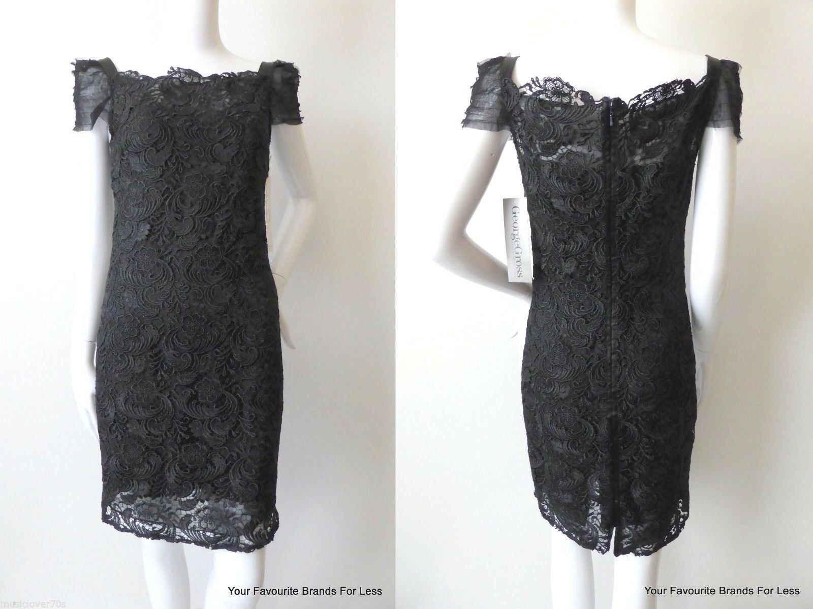 GEORGE GROSS  Black Lace Sheath Dress  Size 8 US 4 rrp $999.00
