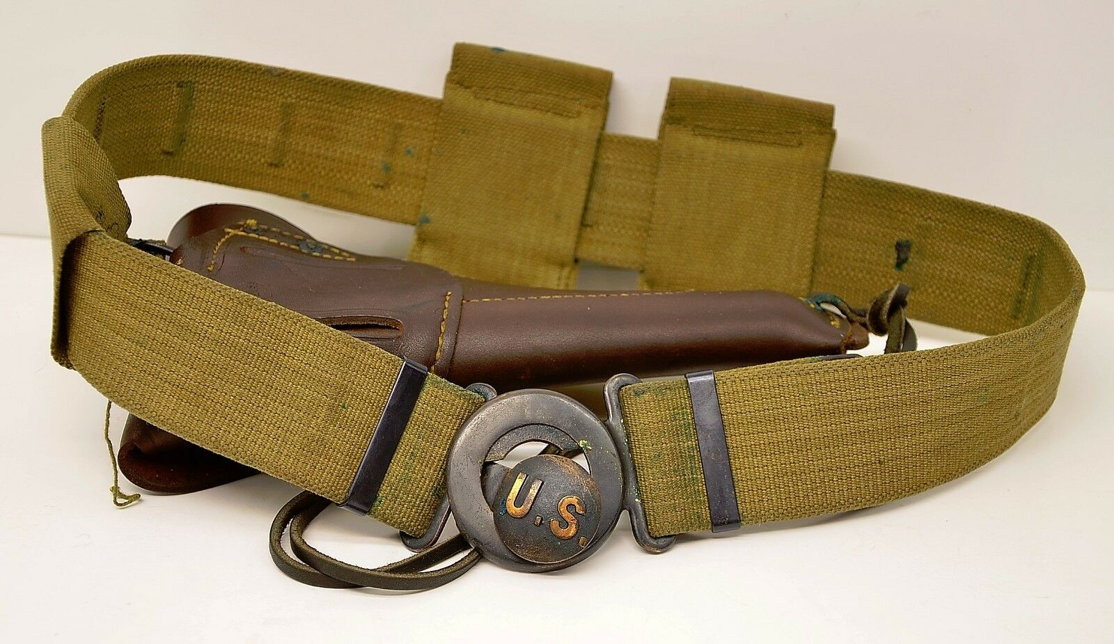 WWI US Mills Woven Cartridge Belt w Brass Buckle, Ammo Pouches, Leather Holster